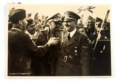 WWII GERMAN AUTOGRAPHED PHOTO POSTCARD OF HITLER