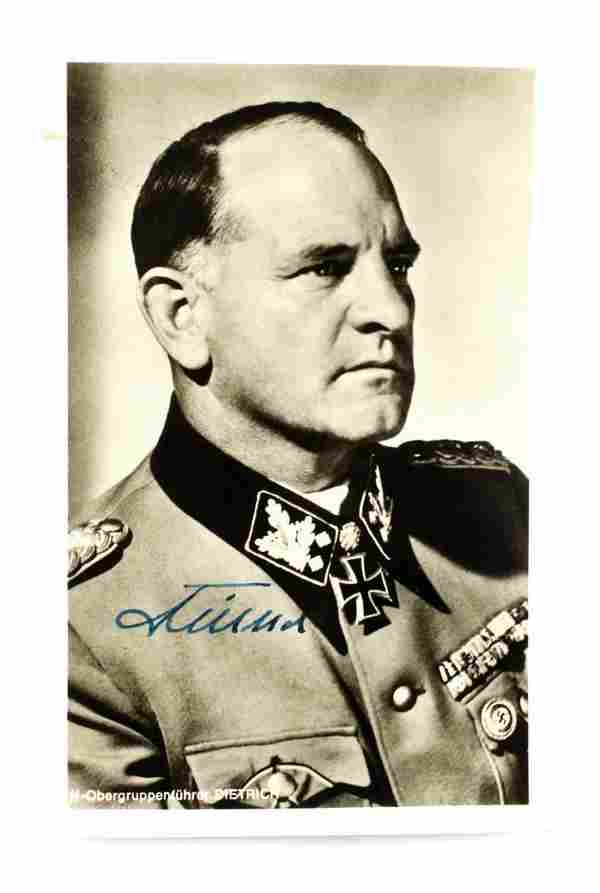 WWII GERMAN AUTOGRAPHED PHOTO OF SEPP DIETRICH