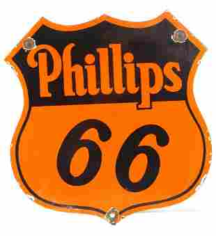 PHILLIPS ROUTE 66 GASOLINE PORCELAIN ADVERTISING