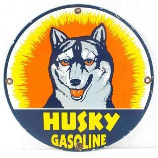 VITNAGE HUSKY GASOLINE PORCELAIN ADVERTSING SIGN