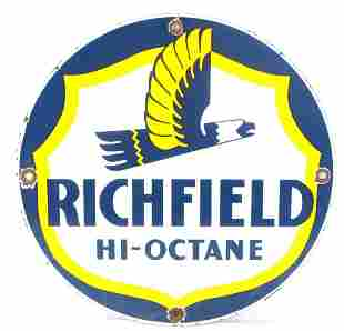 RICHFIELD HI OCTANE GASOLINE PORCELAIN ADVERTISING
