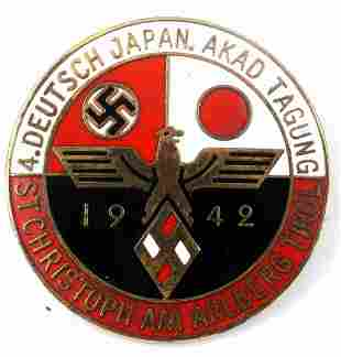 GERMAN IMPERIAL JAPANESE WWII 1942 ALLIANCE BADGE