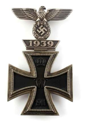 IMPERIAL GERMAN IRON CROSS 1ST CLASS W WWII SPANGE