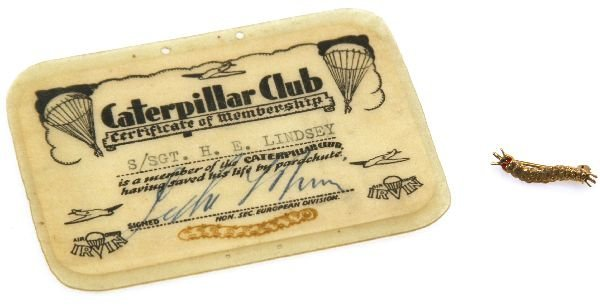 WW2 CATERPILLAR CLUB GOLD BADGE AND CERTIFICATE