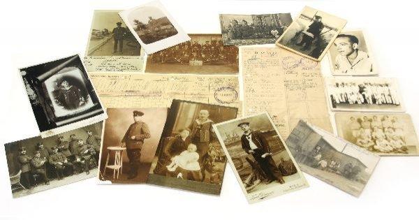 A FRAME OF WWI & WWII PHOTOGRAPHS & EPHEMERA