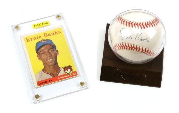 ERNIE BANKS SIGNED BASEBALL 1958 TOPPS 310 CARD