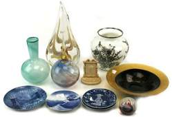 MIXED LOT OF ART GLASS  OTHER ITEMS