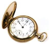 LADIES WALTHAM HUNTER CASE 14K GOLD POCKET WATCH