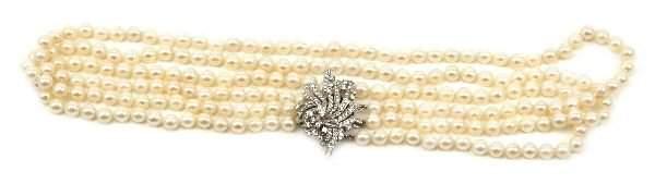 LADIES 14K WHITE GOLD DIAMOND PEARL NECKLACE