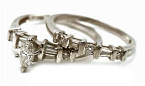 PLATINUM MARQUISE DIAMOND WEDDING RING SET