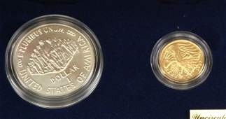 PAIR 1987 SILVER $1 & GOLD $5 CONSTITUTION SETS