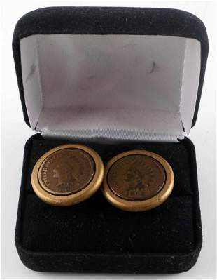 PAIR OF U.S. INDIAN HEAD PENNY CUFF LINKS