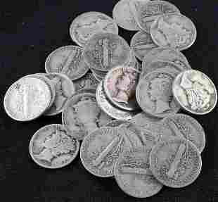LOT 40 MERCURY DIMES 90% SILVER COIN $4 FACE VALUE