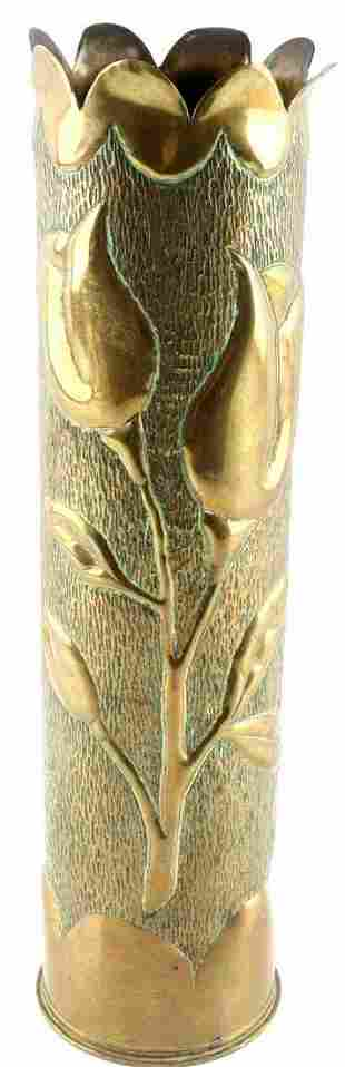 WWI TRENCH ART ARTILLERY SHELL BRASS FLOWER VASE