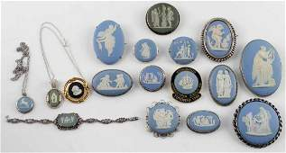 WEDGWOOD CAMEO JEWELRY LOT OF 17 ASSORTED ITEMS