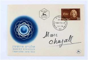 AUTOGRAPHED MARC CHAGALL ISRAELI ENVELOPE W STAMP