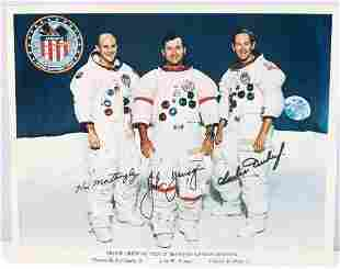 NASA  APOLLO 16 SIGNED 8X10 CREW COLOR PHOTOGRAPH