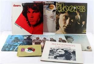 LOT OF 8 ORIGINAL THE DOORS VINYL RECORDS & 45 RPM