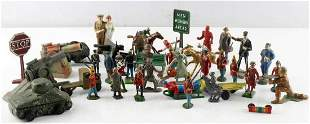 LOT OF MIXED METAL TOY FIGURES W VEHICLES & SIGNS