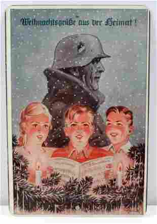 WWII GERMAN CHRISTMAS GREETING METAL SIGN