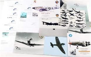 10 WWII BRITISH FLYING ACES SIGNED PHOTOS W COA