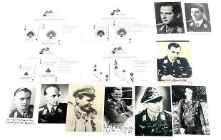 LOT OF 13 SIGNED WWII GERMAN ACE CARDS & PHOTOS