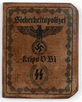 WWII GERMAN THIRD REICH SS POLICE AUSWEIS ID BOOK