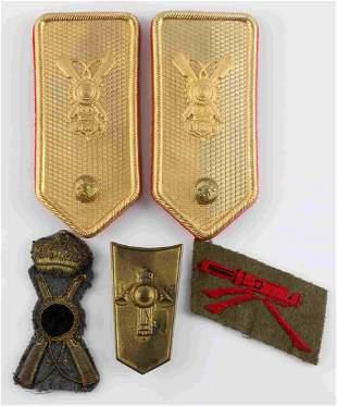 4 WWII ITALIAN INSIGNIA SHOULDER BOARDS CAP LOT
