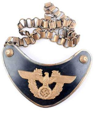 WWII GERMAN THIRD REICH POLICE GORGET WITH CHAIN