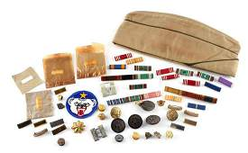 WWII US MILITARY INSIGNIA LOT CAP BUTTONS RANK BAR