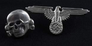 WWII GERMAN THIRD REICH SS HAT EAGLE & SKULL SET
