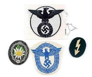 WWII GERMAN PATCH LOT EDELWEISS NSDAP POLICE EAGLE