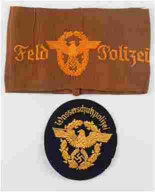 WWII GERMAN THIRD REICH POLICE PATCH AND ARMBAND