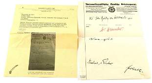 WWII NSDAP LETTER SIGNED BY HEINRICH HIMMLER