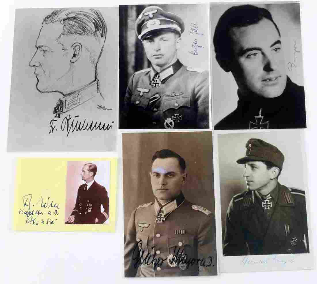 5 WWII GERMAN SIGNED PHOTOS KNIGHTS CROSS WINNERS