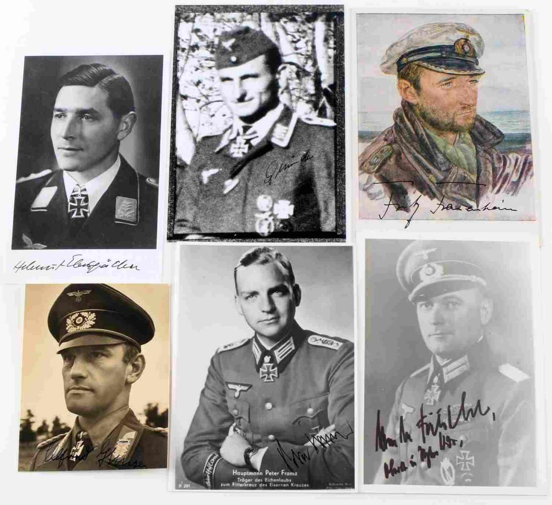5 WWII GERMAN SIGNED PHOTOS KNIGHTS CROSS WINNERS