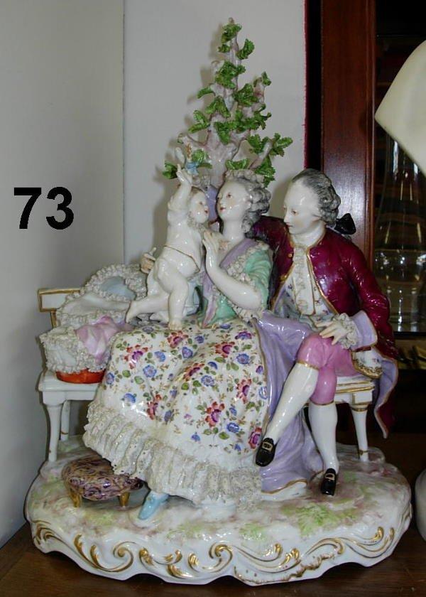 8073: ANTIQUE MEISSEN 3 FIGURINE 1888 JOSEPH SCHACHTEL