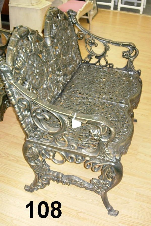 80108: ORNATE OUTDOOR CAST IRON BENCH VICTORIAN STYLE