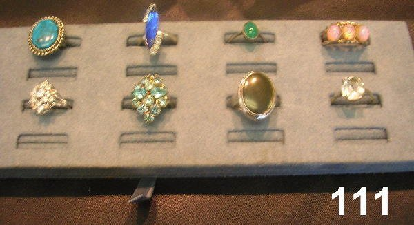 80111: COSTUME RING LOT OF 8 TURQUOISE BLACK ONZX
