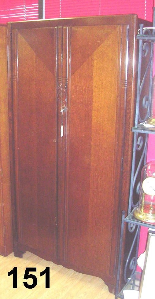 80151: ANTIQUE LEBUS LM FURNITURE WARDROBE WALNU
