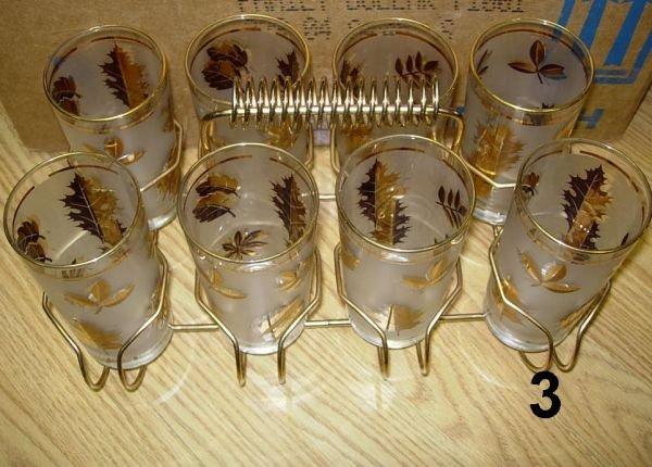 803: VINTAGE GOLD LEAF DRINKING GLASS LOT HIGHBALL JUIC