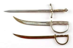 LOT OF 3 EUROPEAN MINIATURE SWORD CLAYMORE CUTLASS