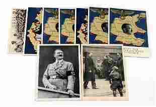 LOT OF 9 WWII GERMAN THIRD REICH POSTCARDS HITLER