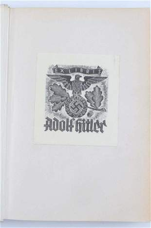 WWII GERMAN THIRD REICH HITLER EX LIBRIS BOOK