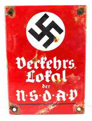 WWII GERMAN NSDAP LOCAL HEADQUARTERS METAL SIGN