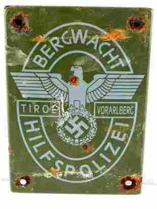 WWII GERMAN TIROL MOUNTAIN POLICE METAL SIGN