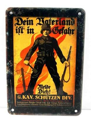 WWII GERMAN THIRD REICH ARMY PROPAGANDA METAL SIGN