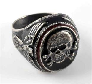 WWII GERMAN WAFFEN SS PANZER DIVISION SILVER RING