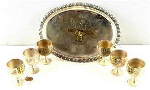 6 WWII GERMAN OFFICERS SCHNAPPS CUPS WITH TRAY
