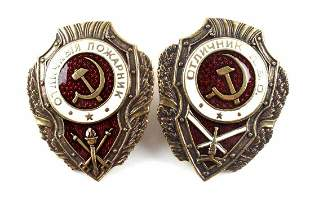 2 SOVIET RUSSIA WWII BADGES AIR DEFENSE FIREMAN